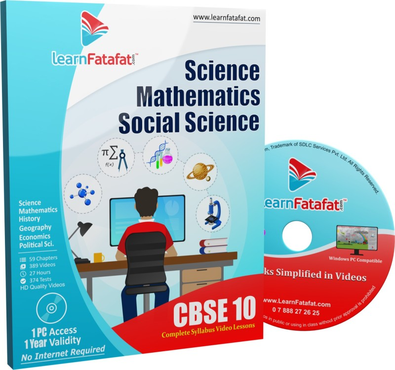 Learnfatafat CBSE Class 10 Science, Mathematics and SST Full Video Course(DVD)