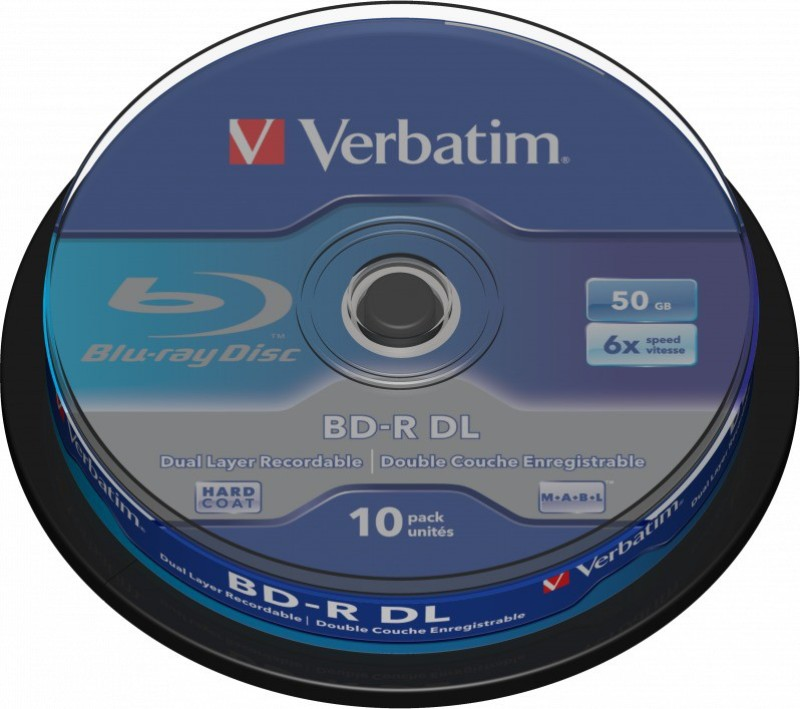 Verbatim Blu-ray Recordable BD-R DL 50GB 10 Pack Spindle 50 GB