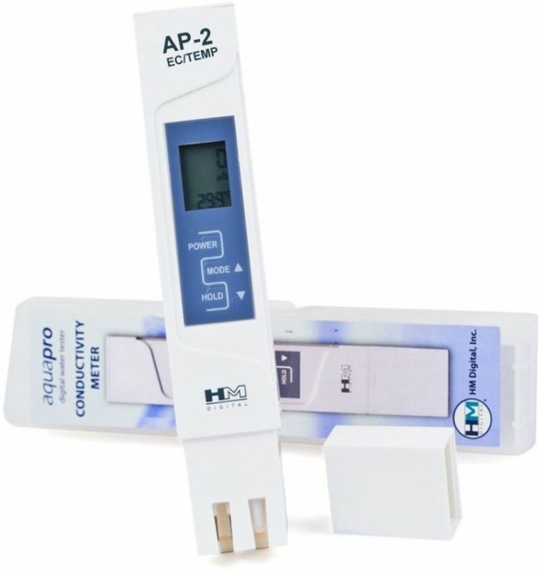 HM DIGITAL AP-2 TDS + EC + Temperature Meter Digital Water Purity Tester with Large LCD Display TDS EC Meter Temperature Conductivity PPM Indicator Portable Pen Type Hydrotester TDS/EC Meter Total Dissolved Solids (TDS) & Electrical Conductivity (EC) Digi