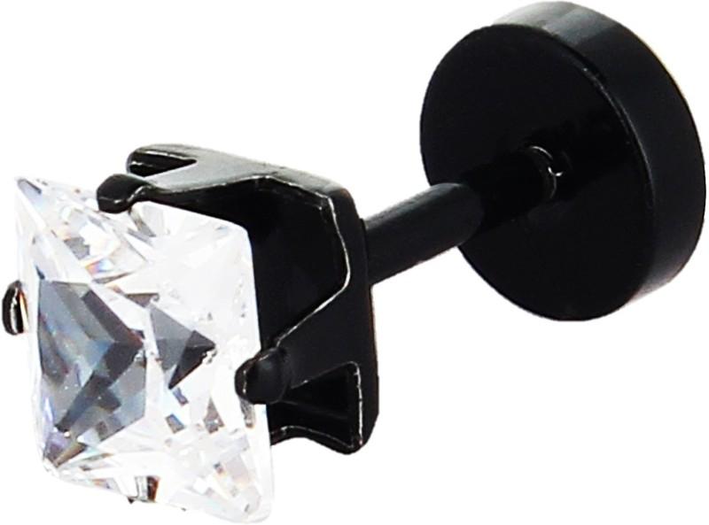 GoldNera Black Solitaire Stud Earring For Men American Diamond Funky Daily Wear Boys Style Zircon Steel Stud Earring