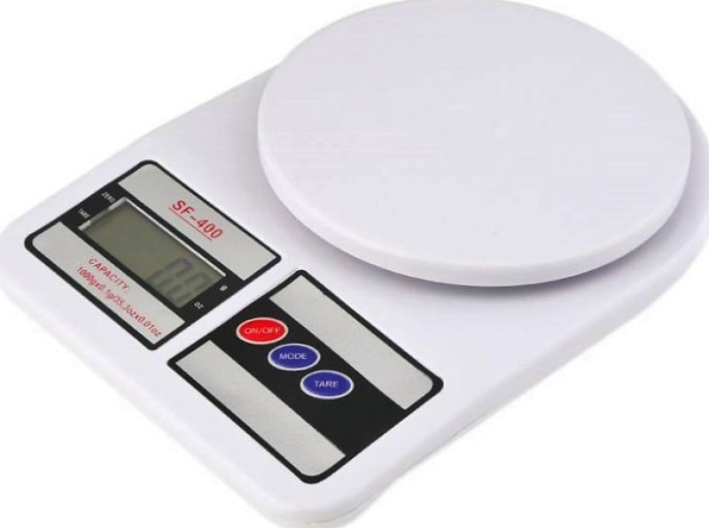 ZIORK Kitchen Digital Weighing Scale Upto 10Kg With Batteries (SF-400) Weighing Scale(White)
