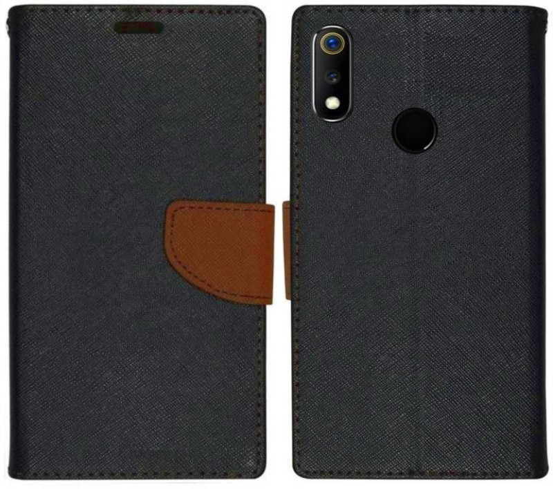 Spicesun Flip Cover for Realme 3, Realme 3i(Brown)