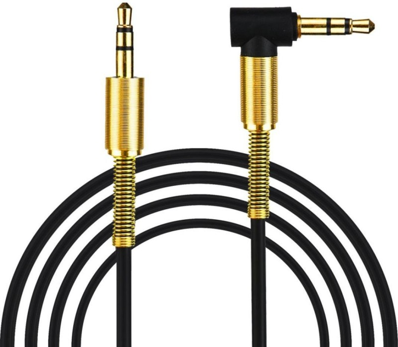 Wonder World ™Aux Cable 3.5mm Male to Male Right Angle AUX Cable(Compatible with Universal, Black)