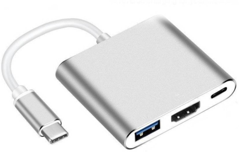 Microware USB Type C Hub HDMI 4K Adapter USB-C to HDMI Converter with 3.0 USB Port and Type C 3.1 Female Charging Port for MacBook Pro, Surface Book/Pro3/Pro4, ChromeBook Pixel and More MMPL-103 USB Hub(White)