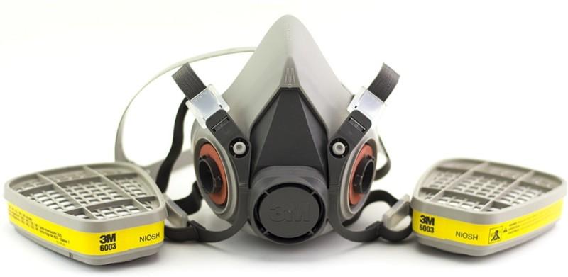 3M 6200 Medium Half Facepiece with 6003 (1 Pair) Organic Vapour/Acid Gas Sarvam Mask and Respirator