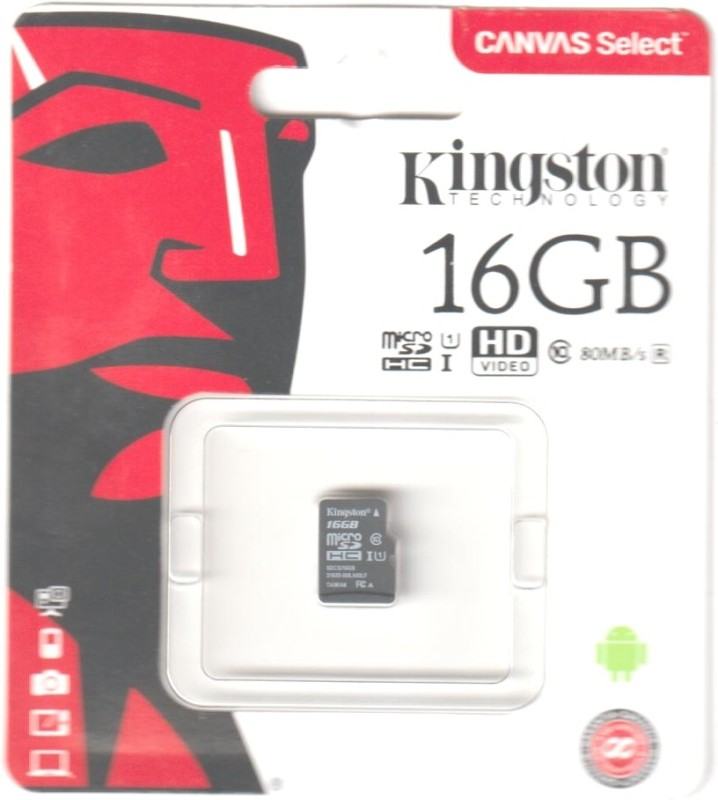 Kingston 16 GB MicroSDHC Class 10 80 MB/s Memory Card