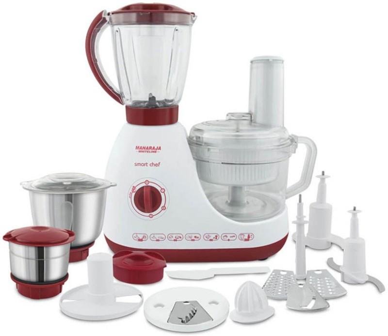 Maharaja Whiteline SMART CHEF (FP-100) 600 Juicer Mixer Grinder(Red & White, 3 Jars)