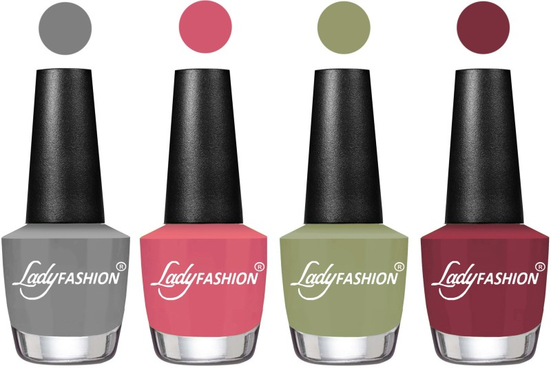 Lady Fashion Most Alluring High Gloss Effect Matte Nail Polish Combo ( Set of 4 ) Grey, Violine Dawn, Magic Nude, Mauve(Pack of 4)