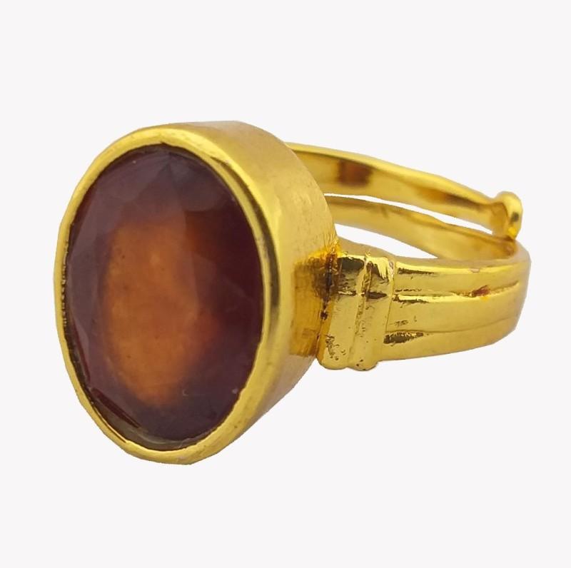 rs jewellers Certified Gomed (GARNET) 5.10 ratti asthdhatu 18K Gold Plating Adjustable Astrological Ring Metal Garnet Gold Plated Ring