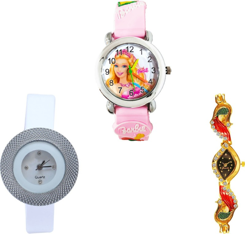NIKOLA Latest Formal Barbie Doll, Chronograph And Peacock Analogue Pink, White And Gold Color Girls And Women Watch - G7-G56-G117 (Combo Of 3 ) combo watch Analog Watch  - For Girls