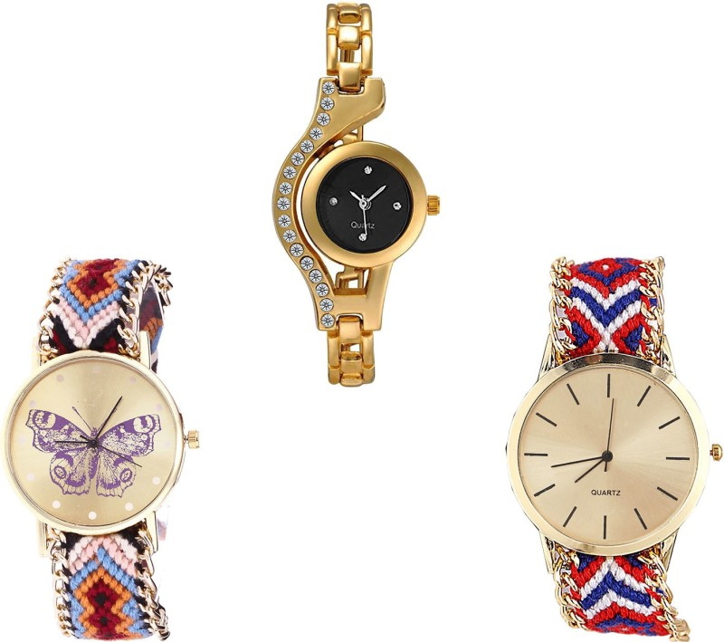 NIKOLA Classical Present Chain And Butterfly Analogue Gold And Multicolor Color Girls And Women Watch - G114-G138-G168 (Combo Of 3 ) combo watch Analog Watch  - For Girls