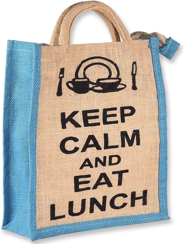 THUNDERFIT Unisex Multipurpose Waterproof Jute Lunch Bags with Zip Closure (11 X 9 X 6 - Inch) N-6 Waterproof Lunch Bag(Blue, 12 inch)