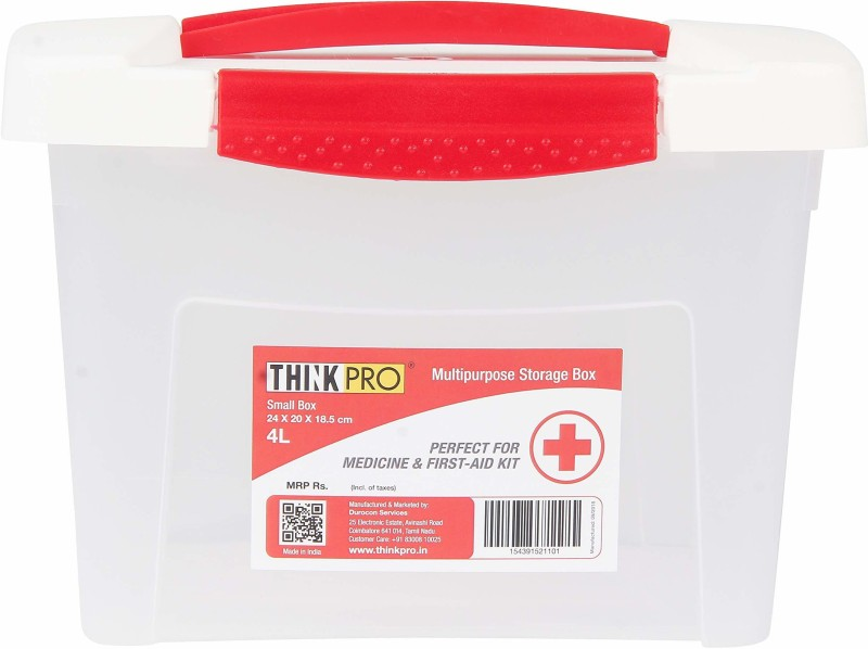 ThinkPro Plastic Medical Box - 4 L Plastic Utility Box(White, Red)