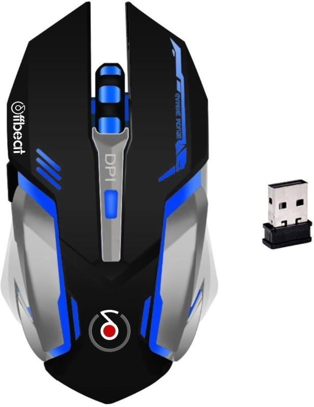 Offbeat Ripjaw Wireless Laser Gaming Mouse(2.4GHz Wireless, Without Gaming Mouse Pad, Back and Grey)