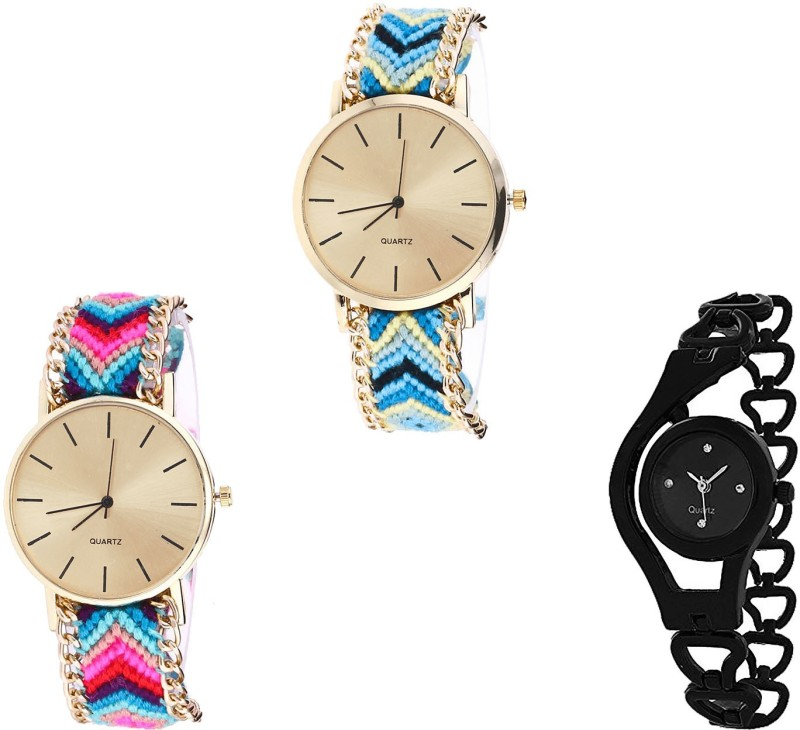 NIKOLA Treading Fashionable Chain Analogue Multi Color And Black Color Girls And Women Watch - G314-G164-G68 (Combo Of 3 ) combo watch Analog Watch  - For Girls