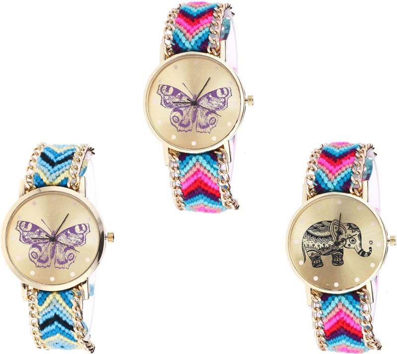 NIKOLA Latest Tread Butterfly And Elephant Analogue Multi Color Color Girls And Women Watch - G130-G136-G154 (Combo Of 3 ) combo watch Analog Watch  - For Girls