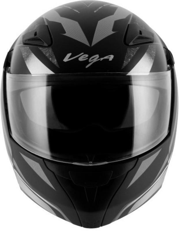 VEGA Boolean Drift Motorbike Helmet(Dull Black Silver)