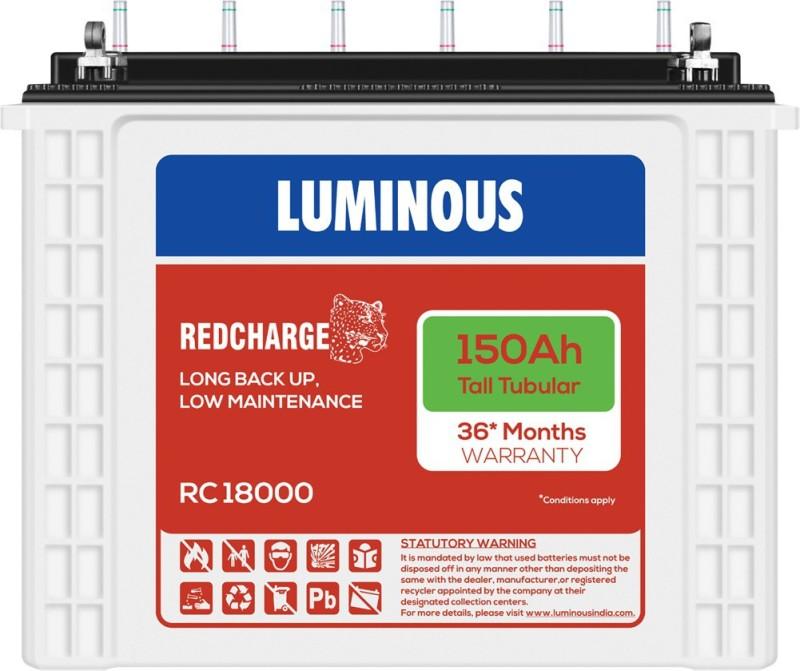 Luminous RedCharge RC18000 150Ah Tall Tubular Battery Tubular Inverter Battery(150Ah)