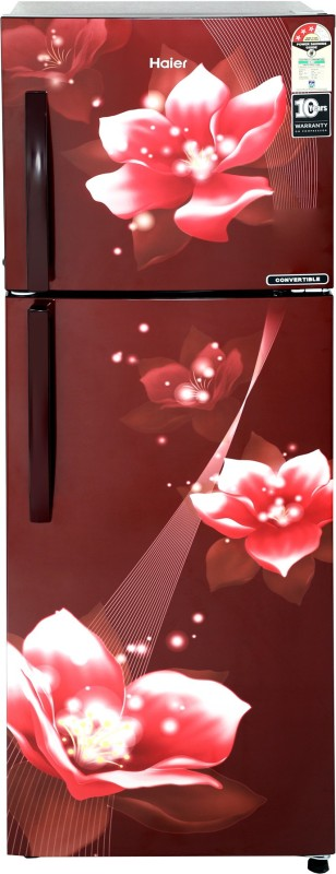 Haier 258 L Frost Free Double Door 3 Star Convertible Refrigerator(Red Flower, HEF-25TRF)