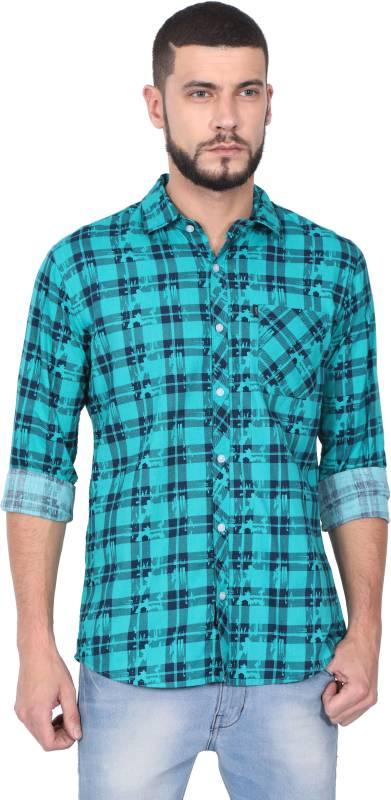 Rope Men Checkered Casual Green Shirt