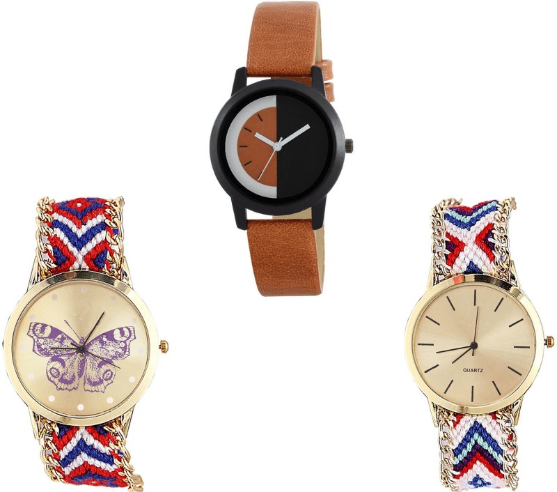 NIKOLA Brand New Quartz Butterfly Analogue Brown And Multicolor Color Girls And Women Watch - G439-G134-G313 (Combo Of 3 ) combo watch Analog Watch  - For Girls