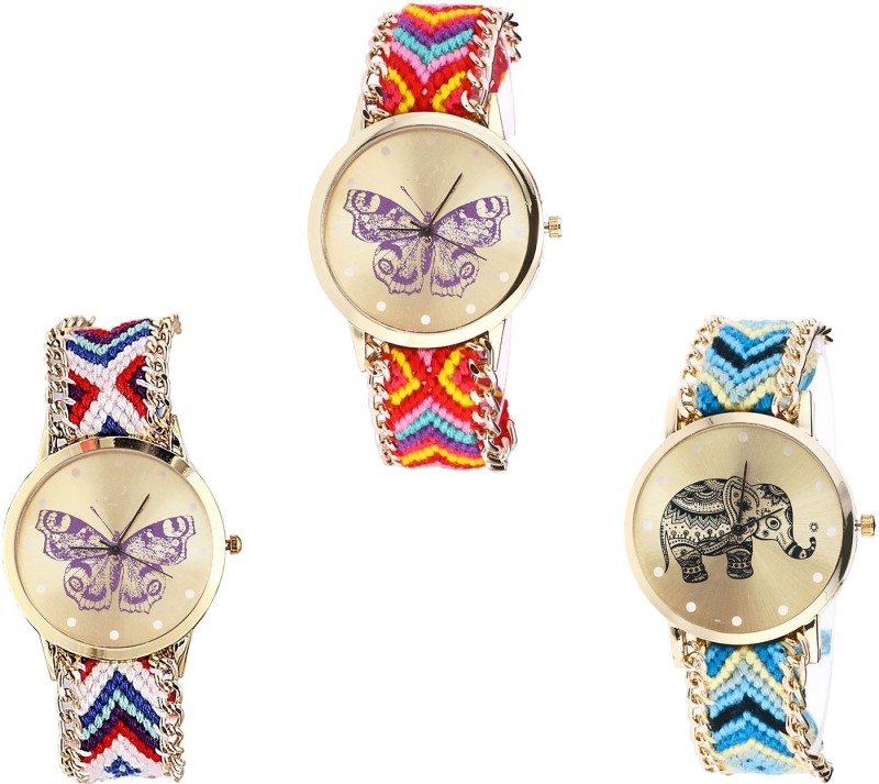 NIKOLA Modern Collegian Butterfly And Elephant Analogue Multi Color Color Girls And Women Watch - G131-G135-G160 (Combo Of 3 ) combo watch Analog Watch  - For Girls