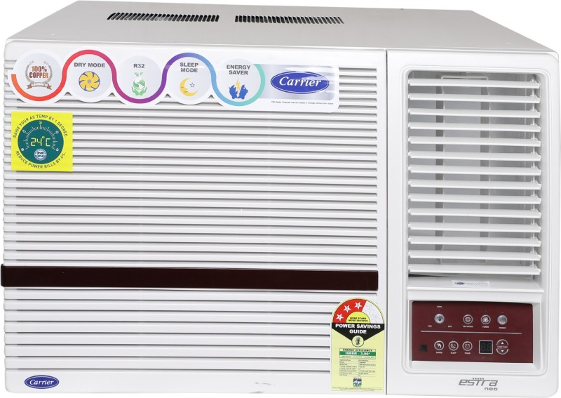 Carrier 1.5 Ton 3 Star Window AC - White(18K Estra Neo (3 Star) Wrac AC R32, Copper Condenser)