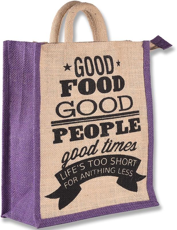 THUNDERFIT Unisex Multipurpose Waterproof Jute Lunch Bags with Zip Closure (11 X 9 X 6 - Inch) N-3 Waterproof Lunch Bag(Purple, 12 inch)