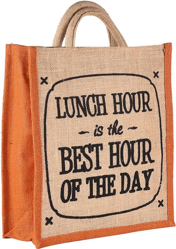 THUNDERFIT Unisex Multipurpose Waterproof Jute Lunch Bags with Zip Closure (11 X 9 X 6 - Inch) N-9 Waterproof Lunch Bag(Orange, 12 inch)