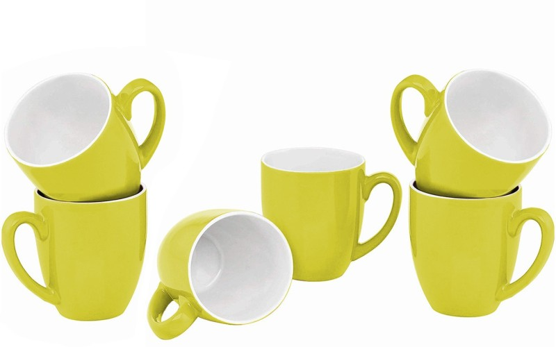 Style My Way Green Tapered Tea Cups in Ceramic (Set Of 6) | Chai Cups Set of 6 | Coffee Mug Set Ceramic(Green, Pack of 6)