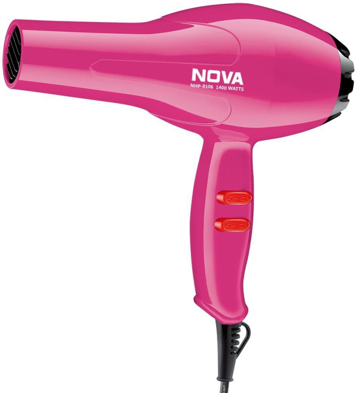Nova Silky Shine 1400 W Hot And Cold NHP 8106 Hair Dryer(1400 W, Pink)