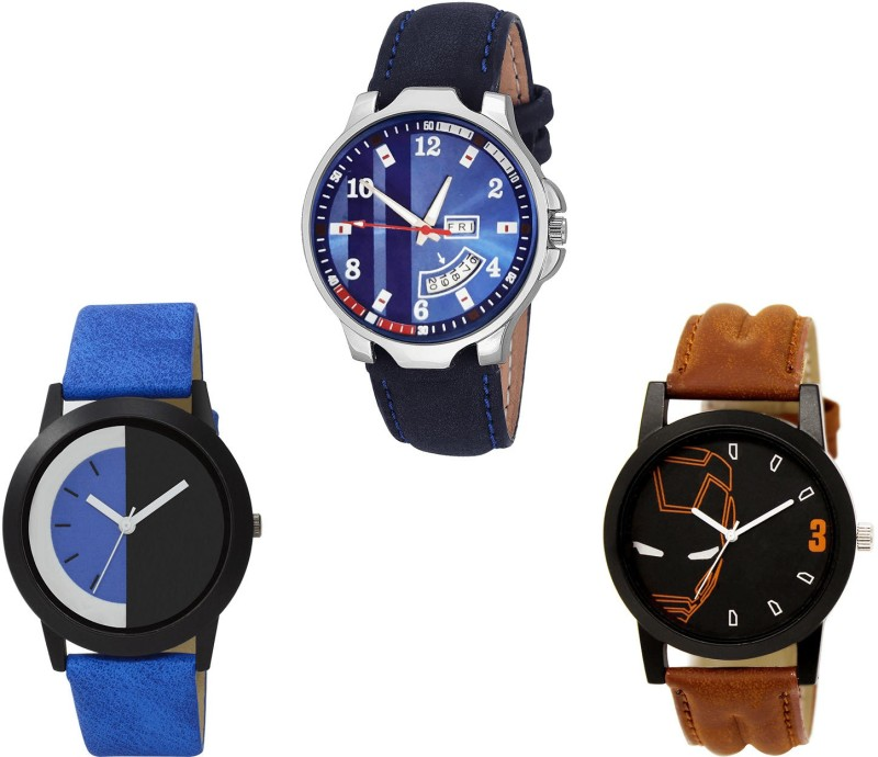 NIKOLA Modish Branded Day And Date And Iron Man Analogue Blue And Brown Color Boys And Men Watch - B160-BL46.4-B161 (Combo Of 3 ) combo watch Analog Watch  - For Girls
