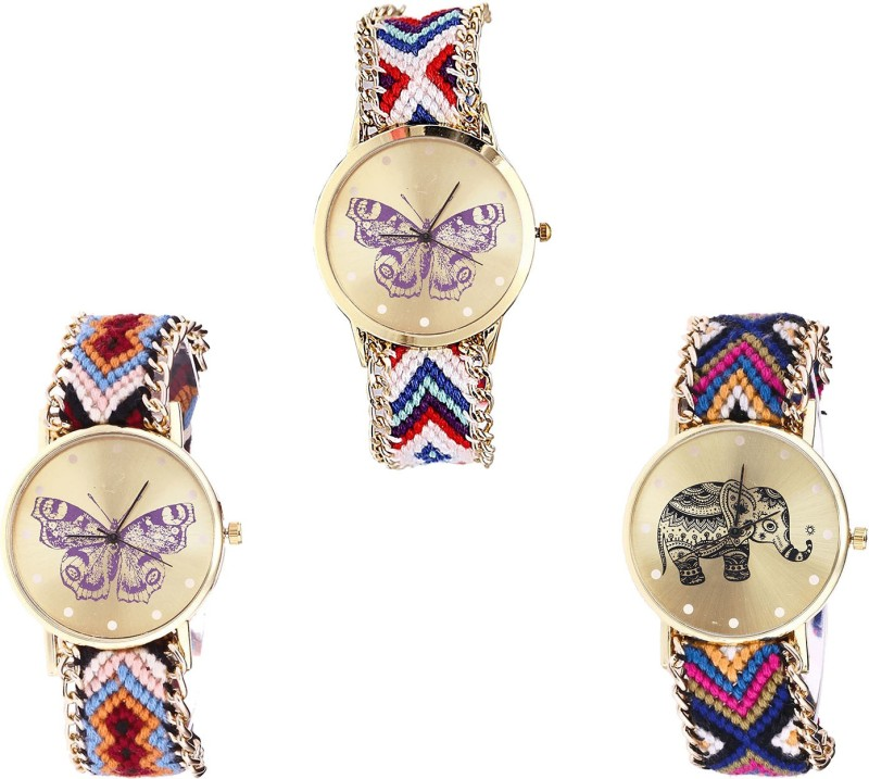 NIKOLA Treading Branded Butterfly And Elephant Analogue Multi Color Color Girls And Women Watch - G135-G138-G311 (Combo Of 3 ) combo watch Analog Watch  - For Girls