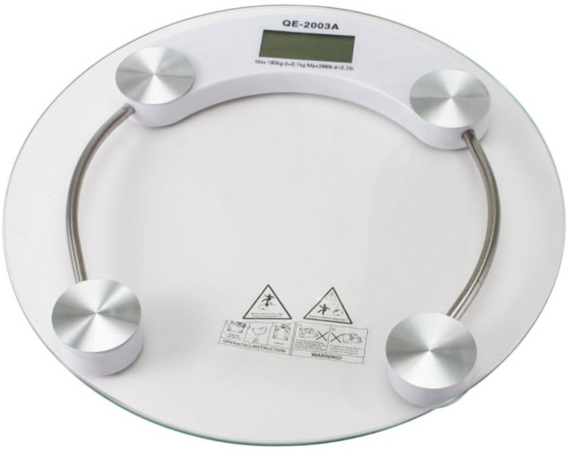 ZIORK ersonal Weight Machine 8mm Thick Round Transparent Glass (2003A1) Weighing Scale(White)