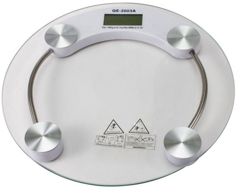 ZIORK Personal Health Human Body Weight Machine 180Kg 8mm Round Glass Weighing Scale(White)