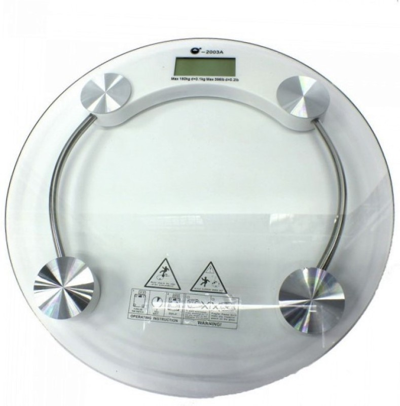 ZIORK Personal Weight Machine 8mm Thick Round Transparent Glass (2003A) Weighing Scale(White)