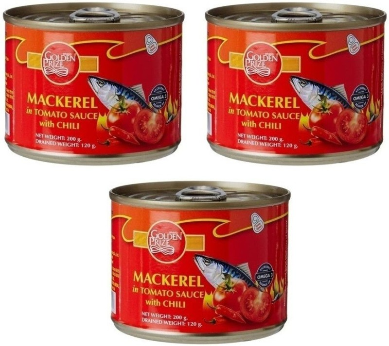Golden Prize Mackerel In Tomato Sauce W/Chili 200 Gms Each - Pack of 3 Units Sea Foods(200 g, Pack of 3)