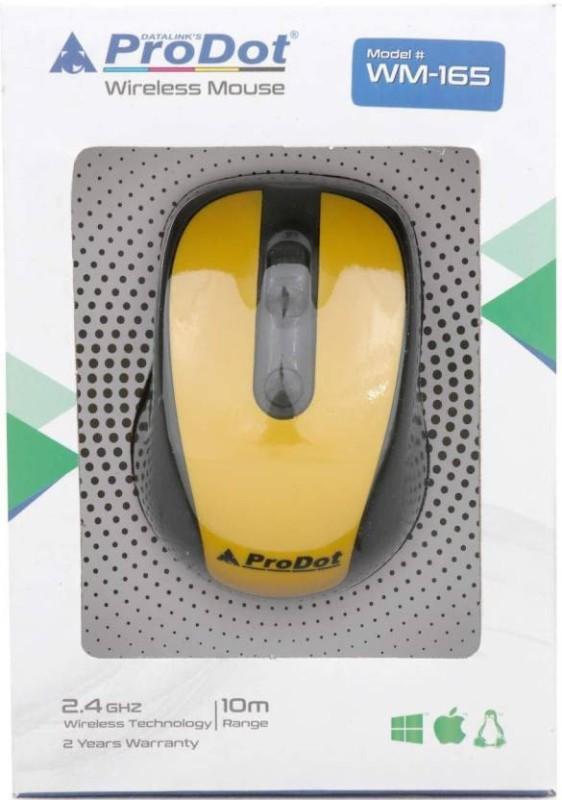 ProDot WM-165 Wireless Optical Mouse0002 Wireless Optical Mouse(USB 3.0, Black, Yellow)
