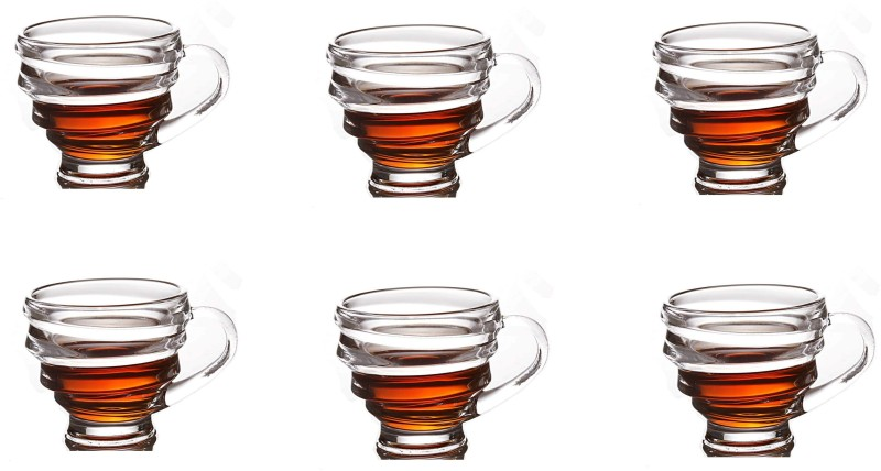 EZRA Double wall Crystal Clear Glass Spiral Tea Coffee Cup Mug set / large mug Glass(Clear, Pack of 6)