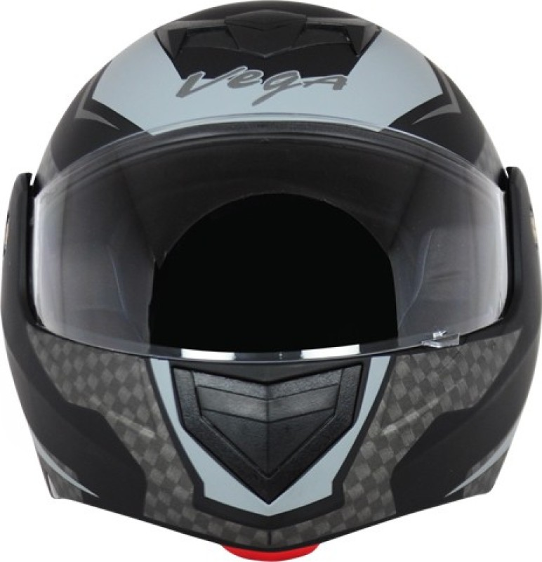 VEGA CRUX DX CHECKS DULL BLACK SILVER HELMET Motorbike Helmet(DULL BLACK SILVER)