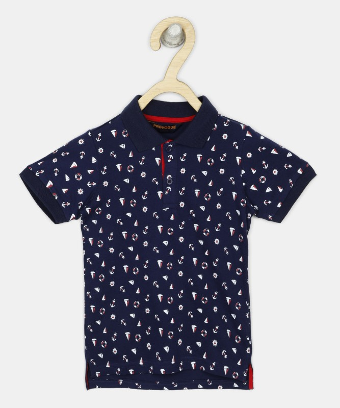 Provogue Boys Printed Cotton Blend T Shirt(Dark Blue, Pack of 1)