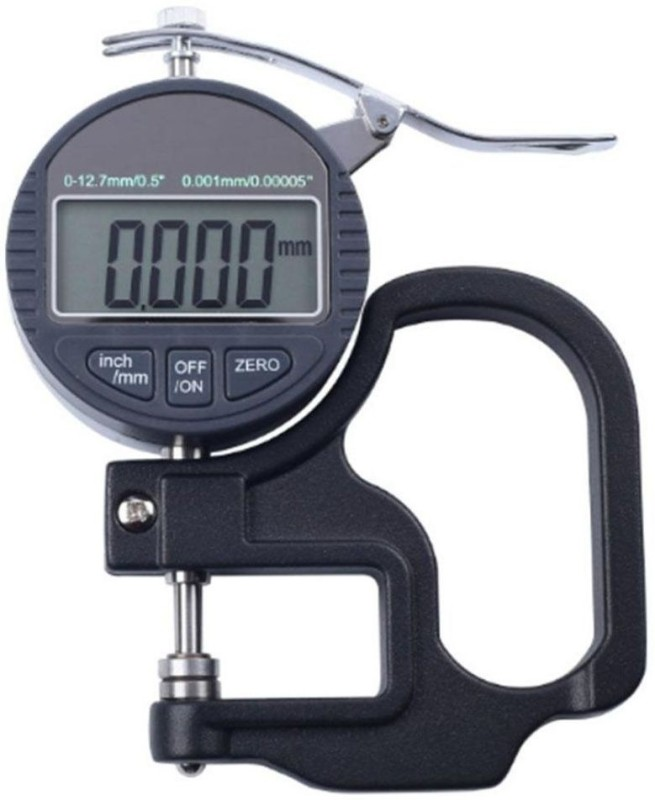 "Divinext Digital Thickness Gauge Electronic Thickness Micrometer 0-12.7mm / 0.5"" Round Head Electronic Thickness Gauge Depth Measurement 0.001mm High Accuracy IP54 Waterproof Oil Proof LCD Portable Digital Micrometer Micron Thickness Meter Depth Test"
