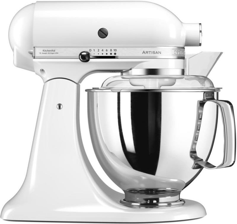 KitchenAid 5KSM150PSDWH TILT HEAD ARTISAN WHITE(D)Stand Mixer 240 Juicer Mixer Grinder(White, 1 Jar)