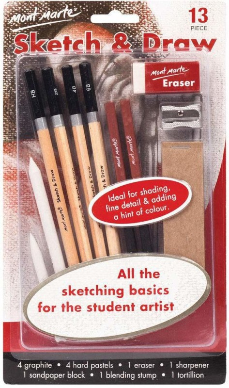 Mont Marte Sketch & Draw Beginners 13Piece Parchment Craft Kit