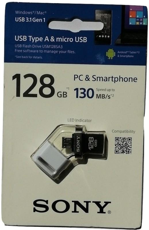 Sony USM128SA3/W2 128 GB OTG Drive(White, Type A to Micro USB)
