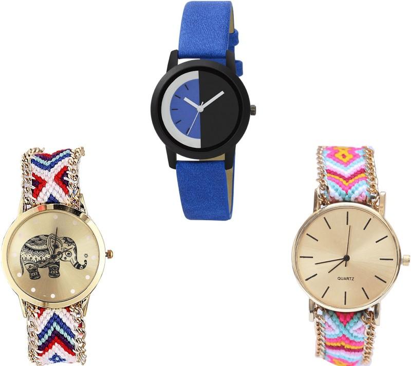 NIKOLA Treading Quartz Elephant Analogue Blue And Multicolor Color Girls And Women Watch - G438-G159-G319 (Combo Of 3 ) combo watch Analog Watch  - For Girls