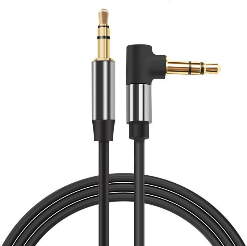 Wonder World ®Audio Cable 3.5mm Male to Male 90 Degree Right Angle Stereo Auxiliary Aux Cable AUX Cable(Compatible with Universal, Black)