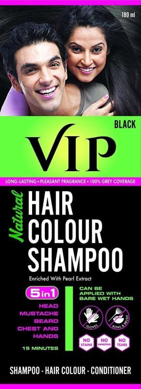VIP NATURAL HAIR COLOUR SHAMPOO 180 ML Hair Color(Black)