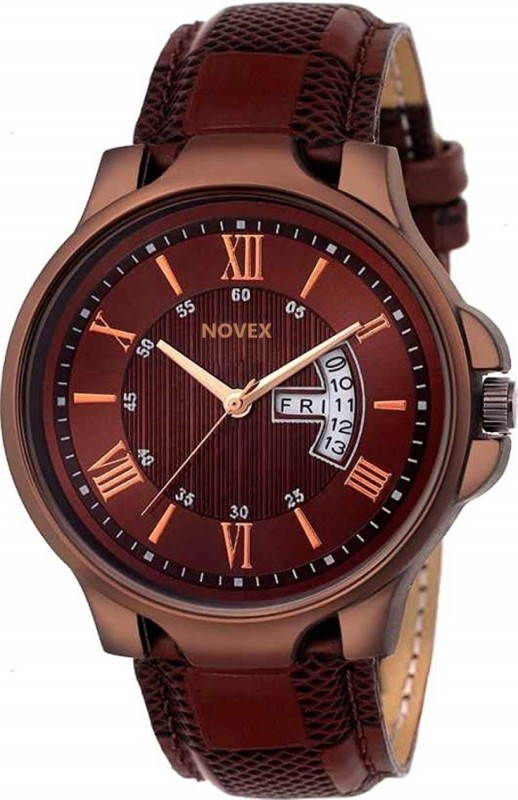 Novex Analogue Day Date Calendar Classic Brown Dial Leather Strap Belt Wrist Analog Watch - For Men