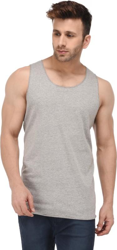 Kay Dee Solid Men Scoop Neck Grey T-Shirt